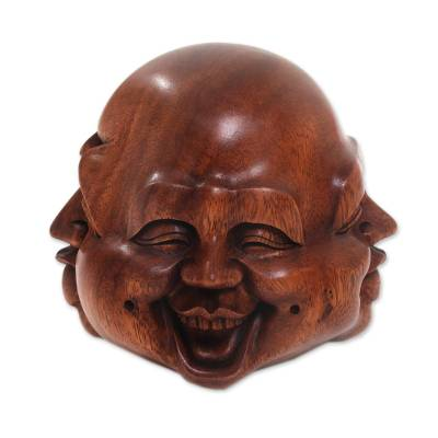 Hand-Carved Four Faces of Buddha Suar Wood Statuette