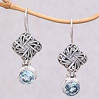 Blue topaz dangle earrings, 'Regal Vines' - Sterling Silver Blue Topaz Vine Lattice Dangle Earrings