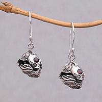 Garnet dangle earrings, 'Peace Koi' - Sterling Silver Peaceful Koi Fish Garnet Dangle Earrings