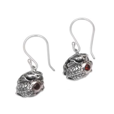 Garnet dangle earrings, 'Peace Koi' - Sterling Silver Peaceful Koi Fish Garnet Dangle Earrings