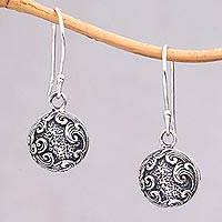 Sterling silver dangle earrings, 'Sea Surf' - Sterling Silver Ocean Wave Theme Dangle Earrings from Bali