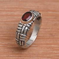 Garnet cocktail ring, 'Bamboo Grove'