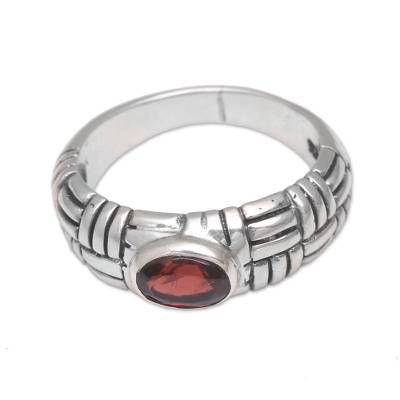 Garnet cocktail ring, 'Bamboo Grove' - Sterling Silver Garnet Gemstone Bamboo Grove Balinese Ring