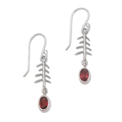 Garnet dangle earrings, 'Winter Branches' - Garnet and Sterling Silver Winter Branches Dangle Earrings