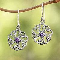 Amethyst dangle earrings, 'Tangled Petals' - Sterling Silver Amethyst Tangled Petals Dangle Earrings