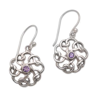 Sterling Silver Amethyst Tangled Petals Dangle Earrings