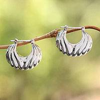 Amethyst dangle earrings, 'Daylight Shells' - Sterling Silver Daylight Seashells Half-Hoop Earrings