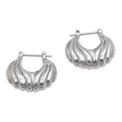 Sterling silver hoop earrings, 'Daylight Shells' - Sterling Silver Daylight Seashells Hoop Earrings