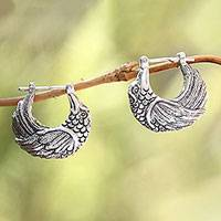 Sterling silver half-hoop earrings, 'Kingfisher' - Sterling Silver Kingfisher Feathered Bird Half-Hoop Earrings