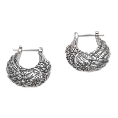 Sterling silver hoop earrings, 'Kingfisher' - Sterling Silver Kingfisher Feathered Bird Half-Hoop Earrings