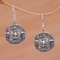 Sterling silver dangle earrings, 'Balinese Guardian'