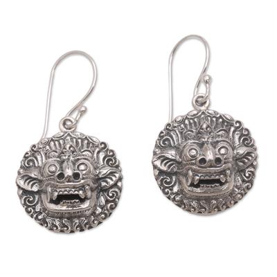 Sterling silver dangle earrings, 'Balinese Guardian' - Sterling Silver Barong Guardian Spirit Dangle Earrings