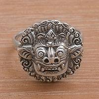 Sterling silver cocktail ring, 'Balinese Guardian' - Sterling Silver Barong Guardian Cocktail Ring from Bali