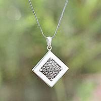 Sterling silver pendant necklace, 'Weaving Ketupats'