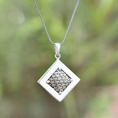 Sterling silver pendant necklace, 'Weaving Ketupats' - Woven Sterling Silver Diamond Shaped Pendant Necklace