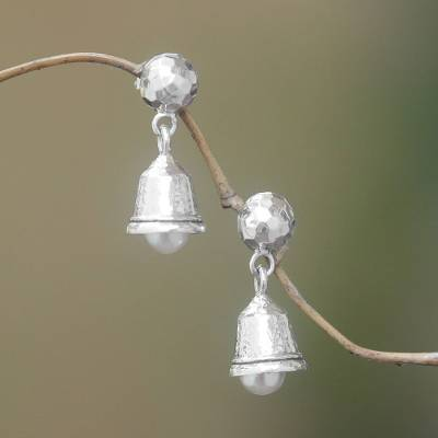 Cultured pearl dangle earrings, 'Melodious Gleam' - Cultured Pearl Bell Dangle Earrings from Bali