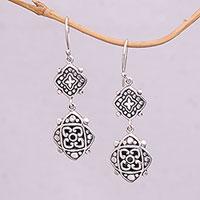 Sterling silver dangle earrings, 'Elegant Star' - Artisan Crafted Sterling Silver Dangle Earrings from Bali