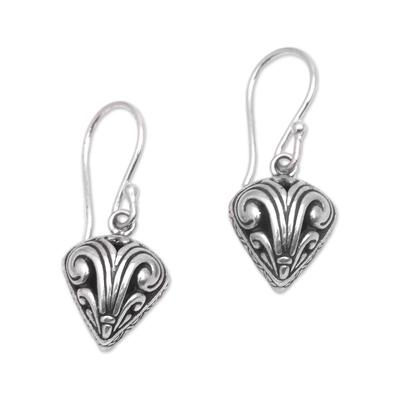 Sterling silver dangle earrings, 'Swirling Crest' - Sterling Silver Swirl Motif Dangle Earrings from Bali