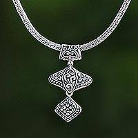 Sterling silver pendant necklace, 'Floral Dazzle' - Floral Sterling Silver Pendant Necklace from Bali