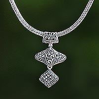 Sterling silver pendant necklace, 'Floral Dazzle' - Floral Sterling Silver Pendant Necklace from Bali