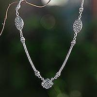 Sterling silver pendant necklace, 'Dancing Dew' - Artisan Crafted Sterling Silver Pendant Necklace from Bali