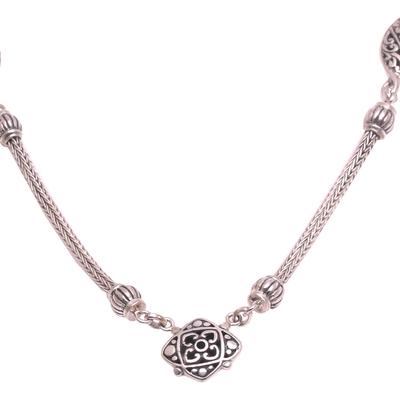 Sterling silver pendant necklace, 'Dancing Dew' - Artisan Crafted Sterling Silver Pendant Necklace from Bali