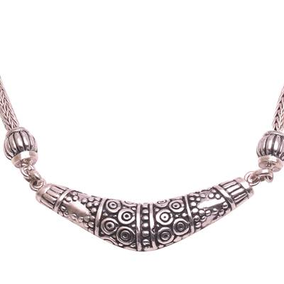 Sterling silver pendant necklace, 'Dazzling Boomerang' - Sterling Silver Boomerang Pendant Necklace from Bali
