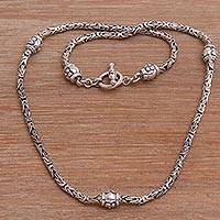 Sterling silver station necklace, 'Floral Borobudur'