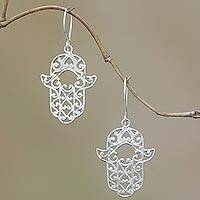 Sterling silver dangle earrings, 'Hands of Fatima' - Sterling Silver Hamsa Dangle Earrings from Bali