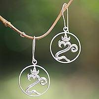 Sterling silver dangle earrings, 'Om of Bali' - Sterling Silver Om Dangle Earrings from Bali