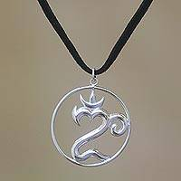 Sterling silver pendant necklace, 'Om of Bali' - Sterling Silver Om Pendant Necklace from Bali