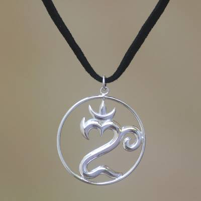 ed1e4117582477 Sterling silver pendant necklace, 'Om of Bali' - Sterling Silver Om Pendant  Necklace