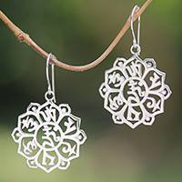 Sterling silver dangle earrings, 'Sanskrit Om Flower' - Silver Om Dangle Earrings with Sanskrit Motifs from Bali