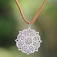 Sterling silver pendant necklace, 'Shining Lotus' - Sterling Silver Floral Pendant Necklace from Bali