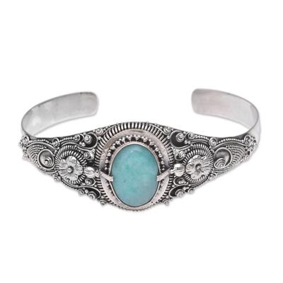 Amazonite cuff bracelet, 'Sindu Magic' - Floral Amazonite Cuff Bracelet Crafted in Indonesia