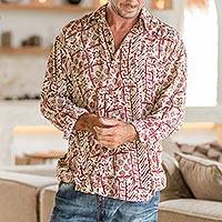 Men's rayon long sleeve shirt, 'Parang Style' - Men's Brick Red on Pale Yellow Print Rayon Long Sleeve Shirt