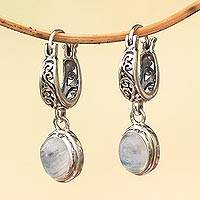 Rainbow moonstone dangle earrings, 'Moon Orbs' - Sterling Silver and Rainbow Moonstone Dangle Earrings