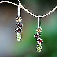 Multi-gemstone dangle earrings, 'Drops of Happiness' - Citrine Garnet Peridot Drops of Happiness Dangle Earrings