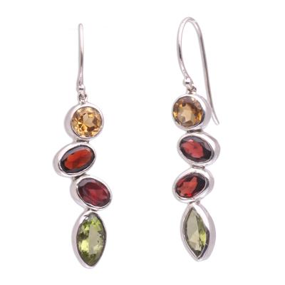 Citrine Garnet Peridot Drops of Happiness Dangle Earrings