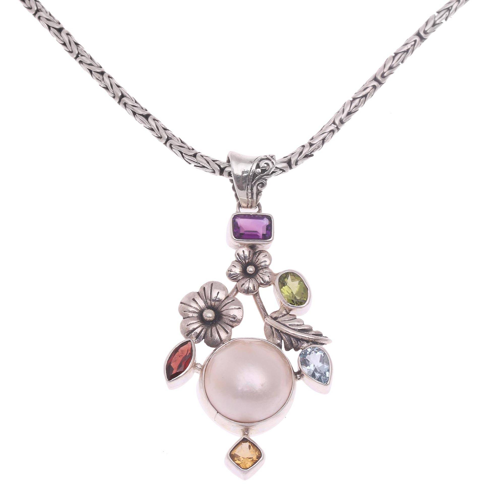 Very Small Cultured Pearl and Faceted Peridot 925 Sterling Silver Pendant
