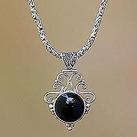 Onyx pendant necklace, 'Eye of the Dark Queen' - Sterling Silver Eye of the Dark Queen Onyx Pendant Necklace