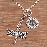 Sterling silver pendant necklace, 'Dragonfly Flower' - Floral Dragonfly Sterling Silver Necklace Crafted in Bali