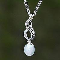 Cultured pearl pendant necklace, 'Infinity Glow' - Infinity Symbol Cultured Pearl Necklace from Bali