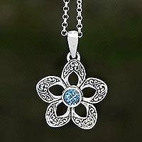 Blue topaz pendant necklace, 'Sekar Langit' - Floral Blue Topaz Pendant Necklace Crafted in Bali