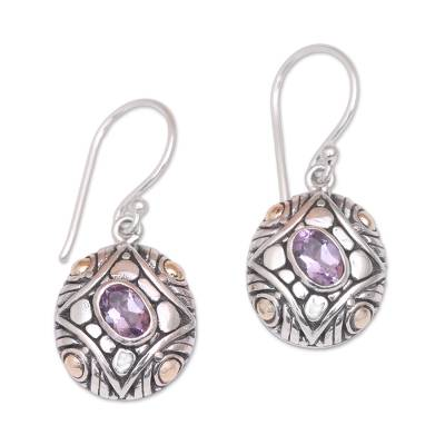 Gold-accented amethyst dangle earrings, 'Jungle Diamonds' - Amethyst & 18K Gold Accented Sterling Silver Dangle Earrings