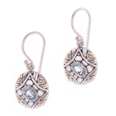 Sterling Silver Blue Topaz Dangle Earrings with Gold Accents