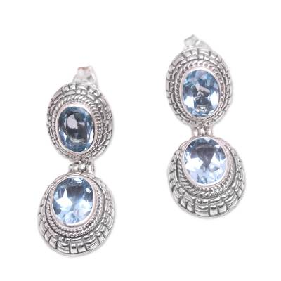 Blue topaz dangle earrings, 'Courtly Adornment' - Blue Topaz and Sterling Silver Dangle Earrings with Posts