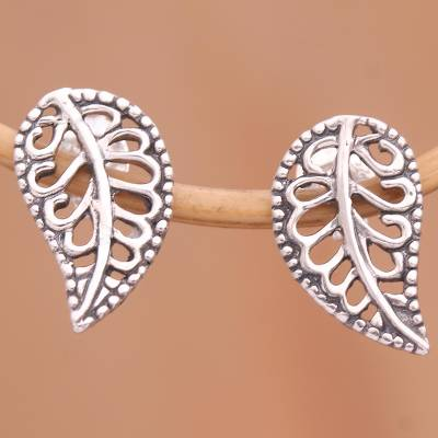 Sterling silver drop earrings, 'Leafy Wonder' - Balinese Leaf Shaped Sterling Silver Drop Earrings