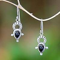 Onyx dangle earrings, 'Glorious Night' - Black Onyx and Sterling Silver Balinese Dangle Earrings
