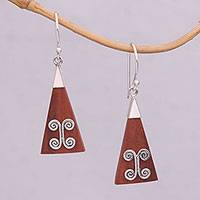 Wood and sterling silver dangle earrings, 'Reach'